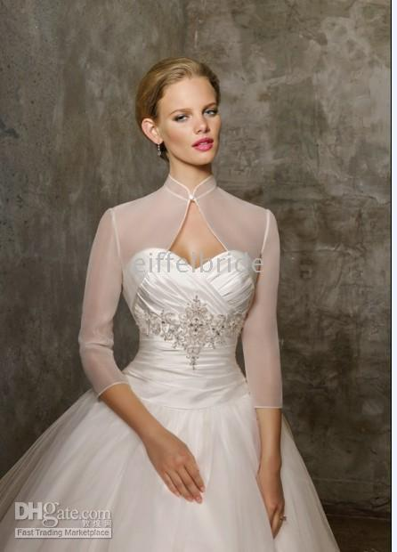 Wholesale Transparent organza long sleeves wedding jacket or bridal wraps with sexy and beautiful style
