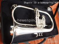 Wholesale New arrival Brass Super Silver Bb BARITONE TUBA PISTON HORN With case