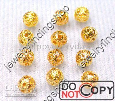 Wholesale 3000Pcs Gold plated round shape findings spacer beads Q01