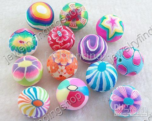 Wholesale BULK BUY Polymer Clay Round ball Beads MIX colours