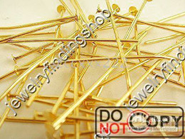 400g 18K gold plated Head Pins 30mm Findings C0386