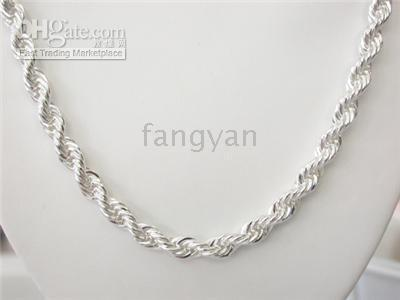 Wholesale 5 silver rope necklace mm inch