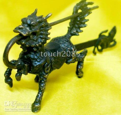 Wholesale Rare chinese old style bronze kylin lock and key