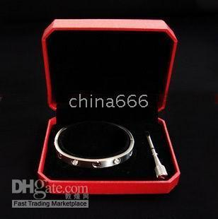 Wholesale 2012 NEW Brand men s sterling Silver bracelets With drilling screw bracelet with box