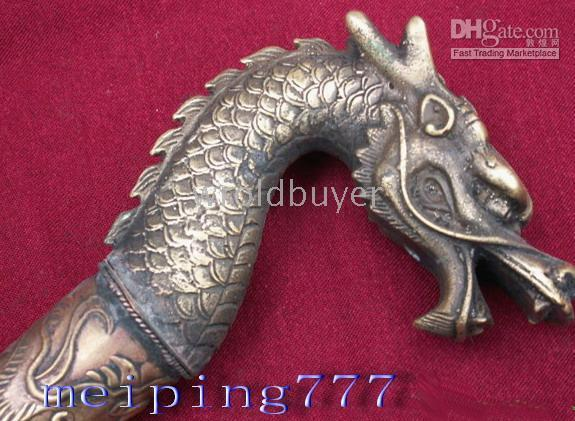 Wholesale Oriental Old Bronze Carved Dragon Head Walking Tools