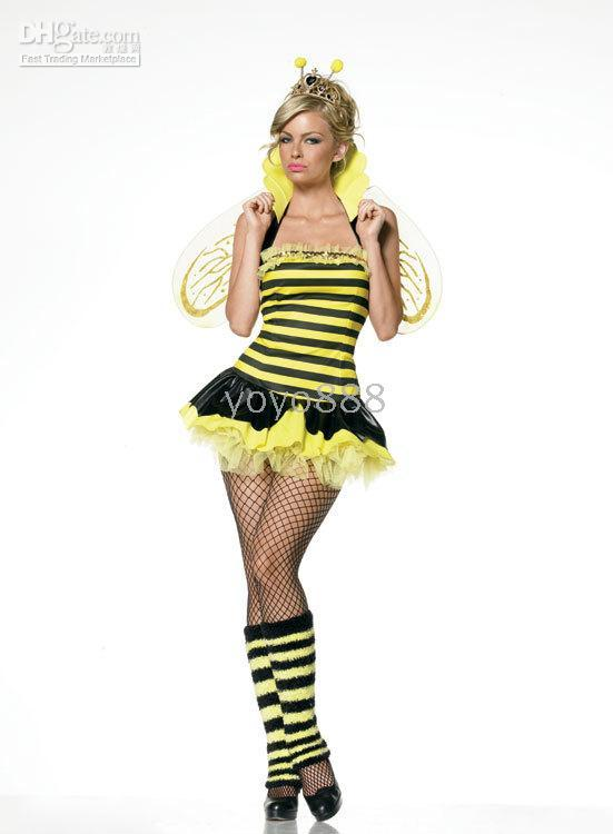Woman bee lingerie - Sexy lingerie Sexy animal bee costume stripe yellow Fancy Dress gl02364 One Size