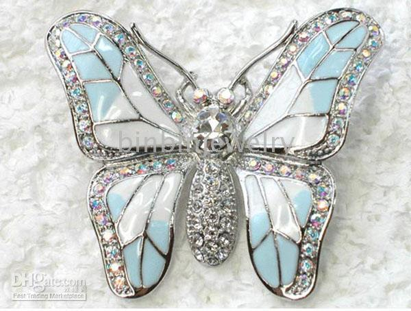 Unisex aurora gift - C364 F Aurora Borealis Crystal Rhinestone Enameling Butterfly Brooches Fashion Costume Pin Brooch jewelry gift
