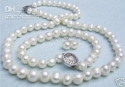 Wholesale Beautiful MM AKOYA WHITE PEARL NECKLACE BRACELET EARRING