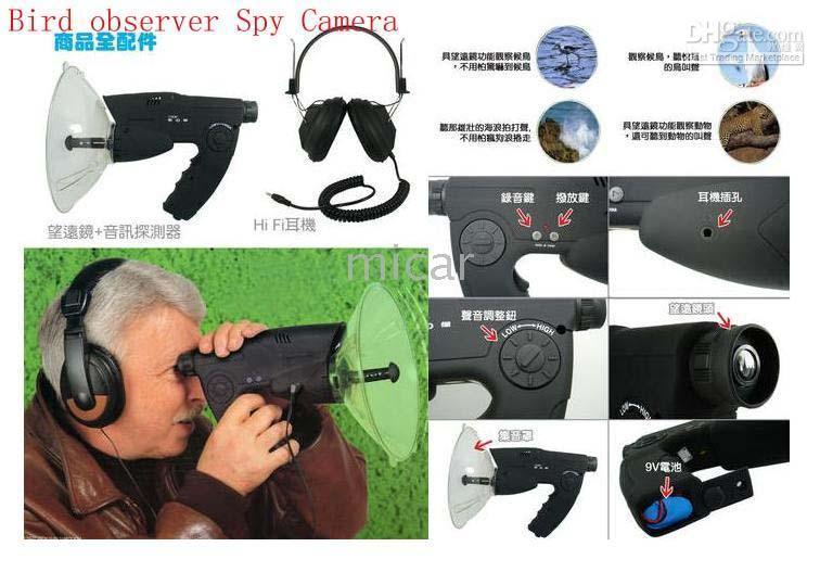 Wholesale New Free Drop Shipping Bird Observer Telescope Sound Amplifier Spy Camera Digital Spy Recording