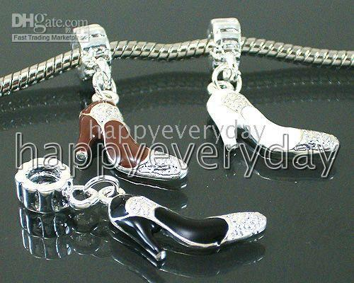 Wholesale multicolor silver plated ladys high heeled shoes Charms pendants beads f0303 fit bracelet
