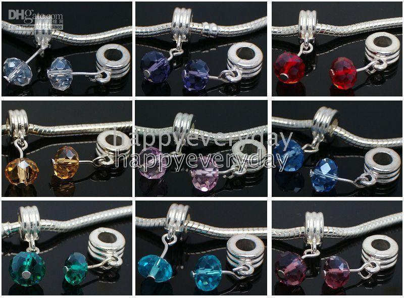 Wholesale nice colorful charm silver plated Crystal pendant beads set fit bracelet