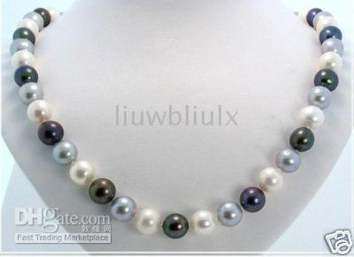 Wholesale noble white black gray pearl necklace quot mm