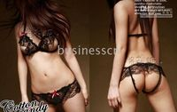 Wholesale 3 Colors Could Mixed Hot Sexy lingerie BLACK See Through Bra amp Crotchless Panty Open Crotch