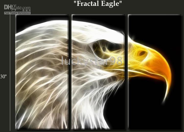 2017 Huge 3 Panel Modern Abstract Art Fractal Eagle Animals Oil ...