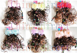 kids girls Wig Fall Hairpiece Extension Hair Piece periwig 36 pairs lot