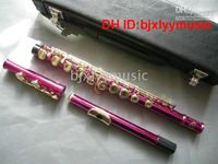 Wholesale Pink KEY Flute with case Musical Instruments Woodwind Flute