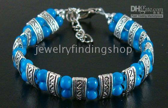 Wholesale 1pcs Tibet silver blue turquoise bracelet fashion jewelry bracelet by HK post