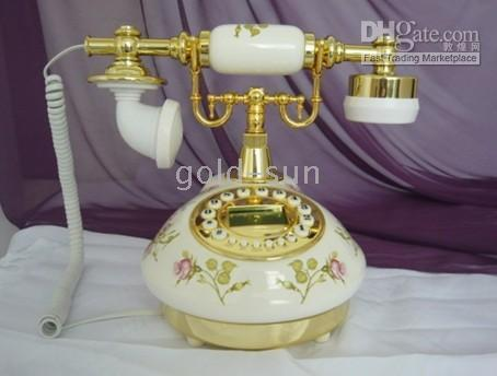 antique style telephone - Wholesales sets golden and white ceramic antique classical old style telephone