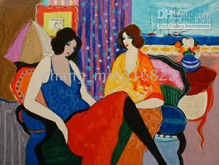 One Panel Oil Painting Classical Art deco Oil Painting Tarkay figures woman lady chat
