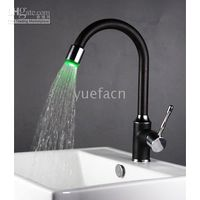 Wholesale Single Handle Chrome Kitchen Mixer Pull Down LED Kitchen Faucet With Black Color L