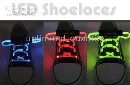 green shoelaces - FREE SHIP FIBER OPTIC LED SHOE LACES LASER SHOELACES NEON GLOW IN THE DARK STICK GADGET LIGHT lite flashlight camping camp party favor