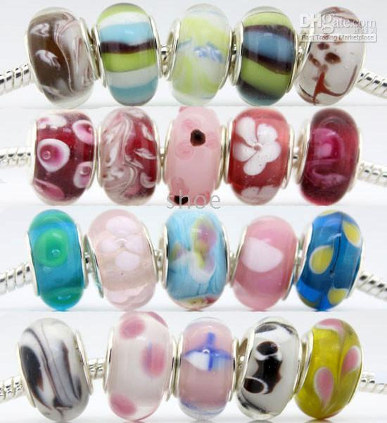 Wholesale 650pcs silver P double core murano glass Bead Charms Fit Pandora mixed order