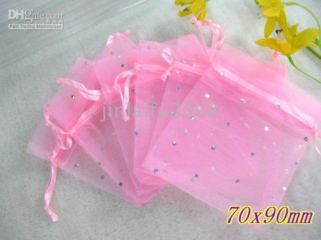 Wholesale 300 Pink Spot Organza Wedding Favors Bags X9cm