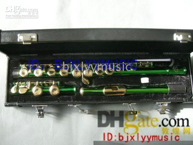 Wholesale Advanced holes Flutes Green Body Gold Key flute With hard case