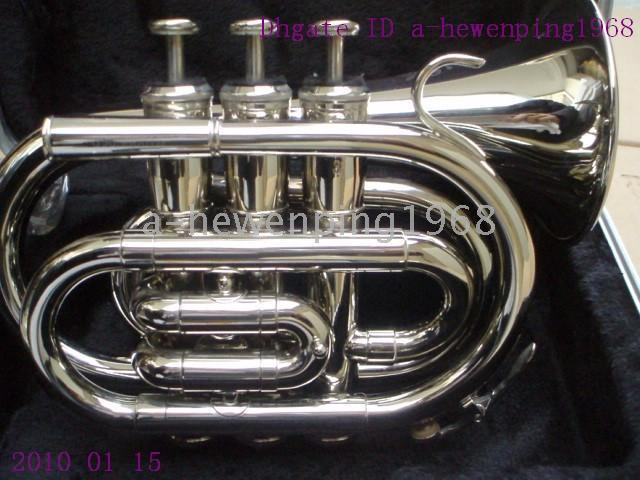 Wholesale NEW NEW BLACK SILVER GOLD BLUE MINI POCKET TRUMPET