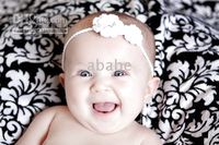 Crochet baby headbands hair accessaries 2 flowers cotton yar...