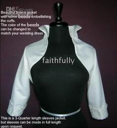 white 3 4 sleeves beading beads wedding bridal bolero jacket satin match for the wedding dress