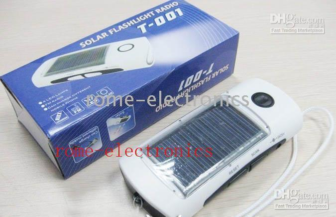 Wholesale LED solar power flashlight torch with FM Radio and mobile Phone Charger