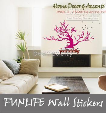 Peel & Stick Plant Modern [funlife]-LD1217 20pcs A BEAUTIFUL Bonsai Tree Wall Deco Paper Mural Art Decal for Living room Decal
