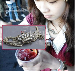 Fashion Vintage Alloy Angel Wing Crown Shape necklace Sweater Chain Acrylic Stone Necklaces Women's 15pcs lot