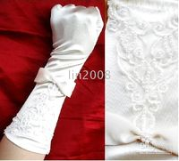 Wholesale fashion custom Bridal Gloves Embroidery Beaded bowknot satin white