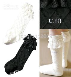 Wholesale Children s Socks Girls Plaid Anti Skid Infant High Knee Socks Lace Socks Black White Color
