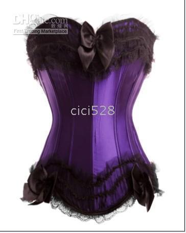 Wholesale Sexy Corset top Bustier G String Garter lingerie size S M L XL color purple black white po