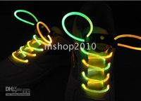 Wholesale 100 pair Fiber Optic LED Shoe LACES LASERs SHOELACES NEON GLOW IN THE DARK STICK GADGET LIGHT