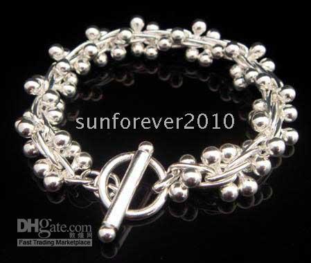 Silver big beaded bracelets - Hot sale brand new Silver big Grape Beads link Bracelet inch