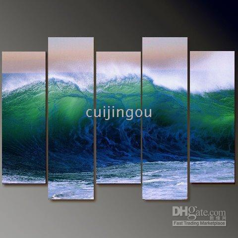 More Panel Oil Painting Abstract Handicraft Abstract Modern Art Canvas Wall Decor Huge Sea Wave Art Oil Painting (5 Panel) #C146