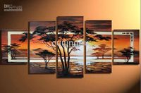 Wholesale Handicraft Abstract Modern Huge Art Landscape Tree Wall Decor Oil Painting On Canvas Panel C191