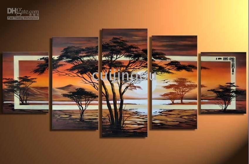 More Panel Oil Painting Abstract Handicraft Abstract Modern Huge Art Landscape Tree Wall Decor Oil Painting On Canvas -(5 Panel)#C191