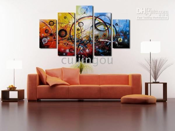 More Panel Oil Painting Abstract Handicraft Abstract Modern Large Art Canvas Wall Decor Oil Painting (5 Panel)#C213