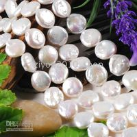 Wholesale 10 mm White Coin Pearl Loose Bead