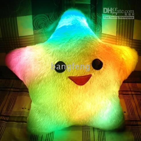 Wholesale 12pcs LED Light Cushion christmas gift christmas ornament Colorful LED Pillow Lucky Star Pillow