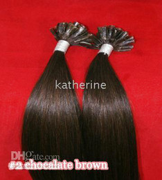 Wholesale 20 quot U tip Nail tip Pre Glued Remy Human Hair Extensions g S darkest brown S