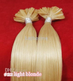 Wholesale 26 quot U tip Nail tip Pre Glued Probond Remy Human Hair Extensions g S light blonde S