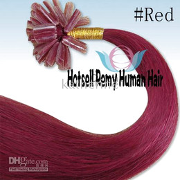 Wholesale 20 quot U tip Nail tip Pre Glued Remy Human Hair Extensions g S red S