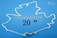 Plastic 20 inch Silver Plated Wholesale - NEW 925 STERLING SILVER SMALL BALLS ROUND CHAINS NECKLACES JEWELRY(20pcs1lot)