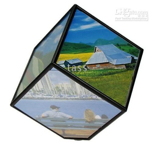 Wholesale Christmas Gift Magic Rotating Photo Frame Cube Revolving Picture Frame For Pictures